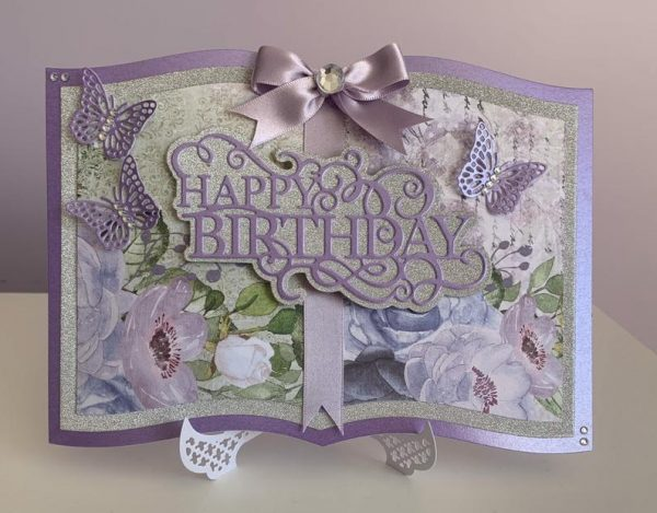 Book-style handmade birthday card in violet
