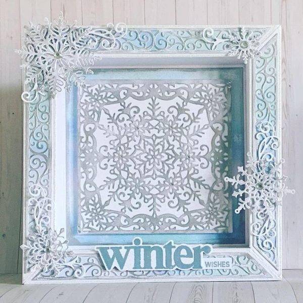 Winter Wishes Handmade Box Frame Greetings Card for Birthday or Christmas