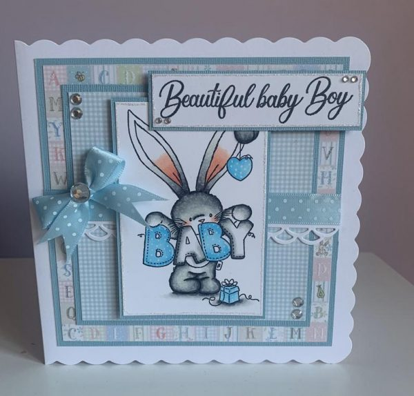 Bunny Baby Boy Handmade Greetings Card