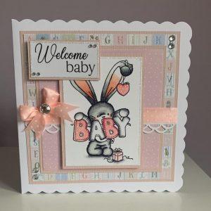 New Baby Girl Bunny Handmade Greetings Card