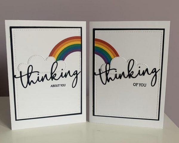 Rainbow thinking of you handmade greetings card set of 2