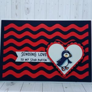 Stud Puffin Handmade Greetings Card for Valentine's Day