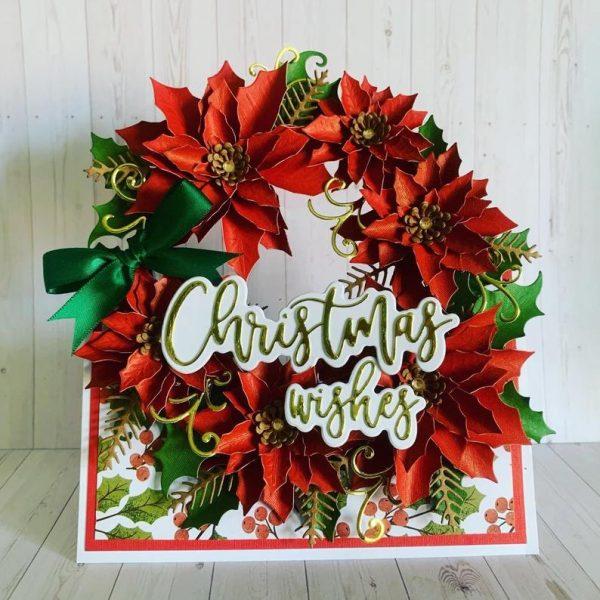 Handmade Christmas poinsettia greetings card