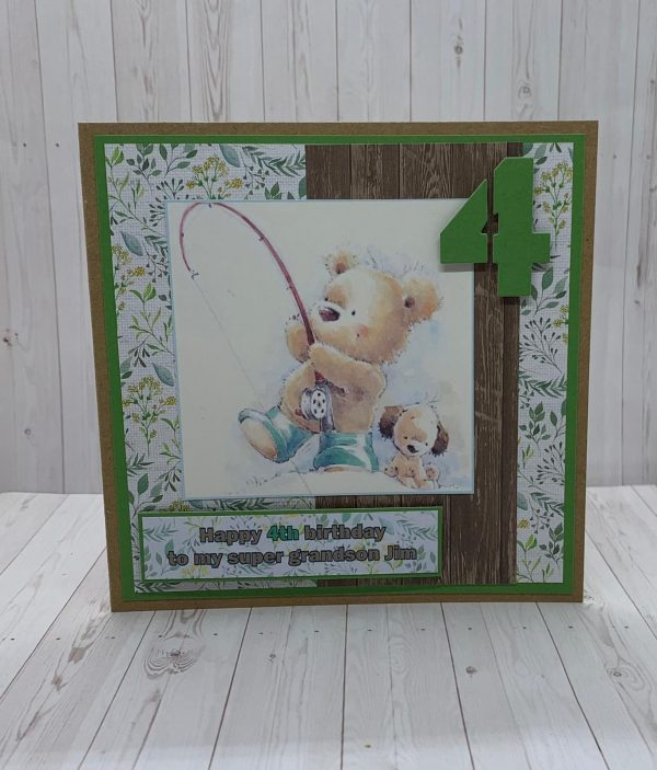 Fishing Bear Birthday Card Mulberry Wood