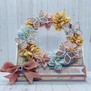 Happy Birthday Card with Handmade Flowers and Butterflies
